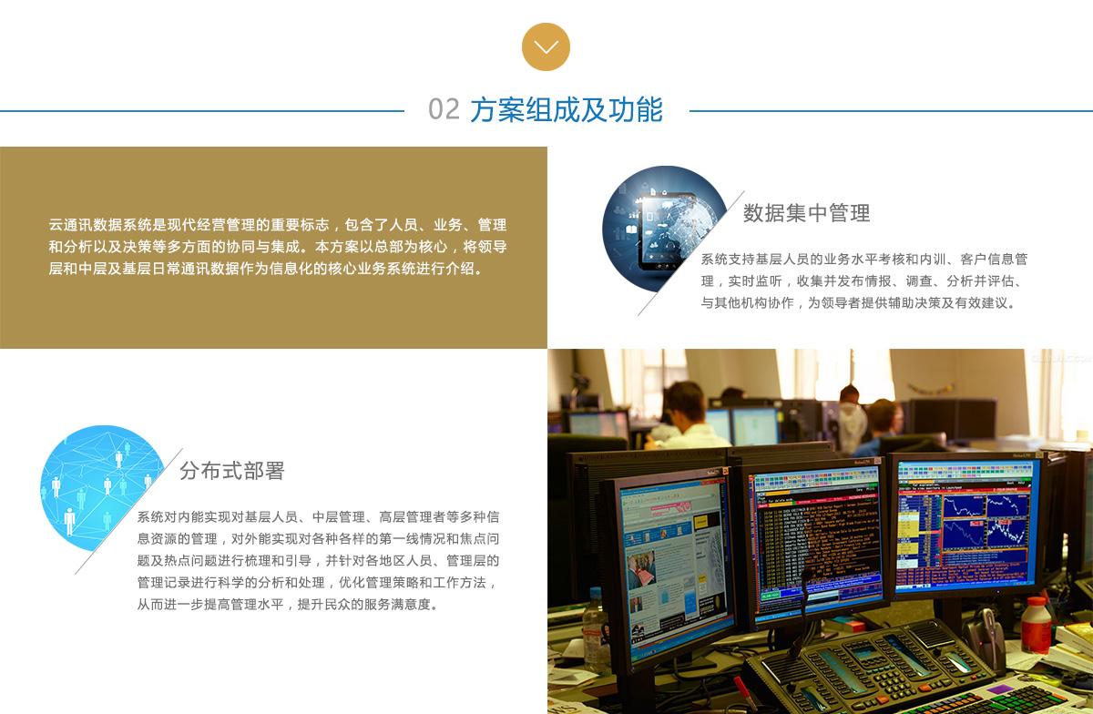 方案组成及功能:云通讯数据系统是现代经营管理的重要标志,包含了人员、业务、管理和分析以及决策等多方面的协同与集成。本方案以总部我核心,将领导层和中层及基层日常通讯数据作为信息化的核心业务系统进行介绍。数据集中管理:系统支持基层人员的业务水平考核和内训、客户信息管理,实时监听,收集并发布情报、调查、分析并评估、与其他机构协作,为领导者提供辅助决策及有效建议;分布式部署:系统对内能实现对基层人员、中层管理、高层管理者等多种信息资源的管理,对外能实现对各种各样的第一线情况和焦点问题及热点问题进行梳理和引导,并针对各地区人员、管理层的管理记录进行科学的分析和处理,优化管理策略和工作方法,从而进一步提高管理水平,提升民众的服务满意度。